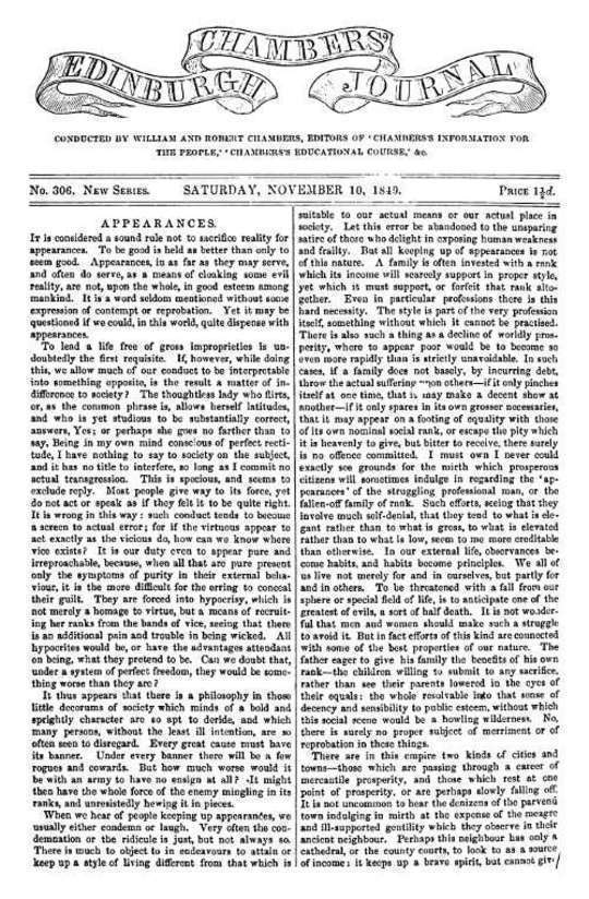 Chambers's Edinburgh Journal, No.306 New Series, Saturday, November 10, 1849