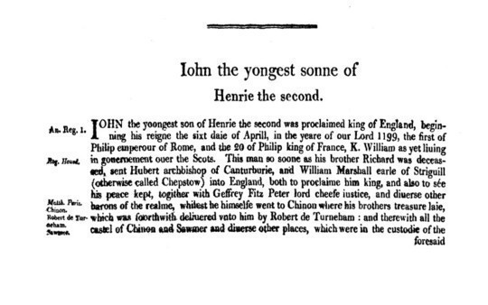 Chronicles of England, Scotland and Ireland (2 of 6): England (7 of 12) Iohn the Yongest Sonne of Henrie the Second
