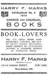 Harry F. Marks Catalogue No. 4, 1919 Choice and Unusual Books