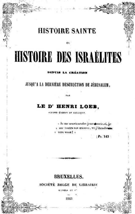 Histoire Sainte ou Histoire des Israélites