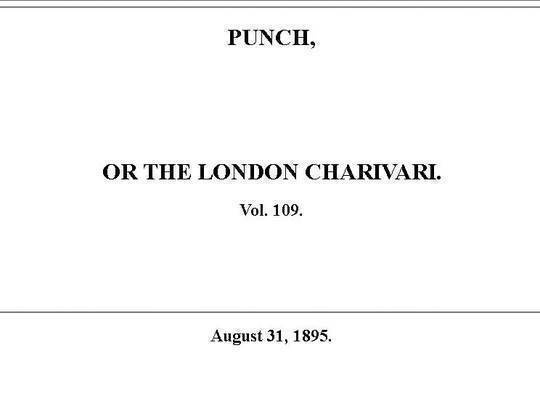 Punch or the London Charivari, Vol. 109, August 31, 1895