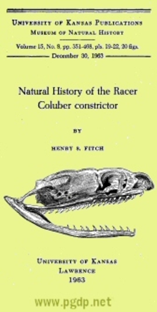 Natural History of the Racer Coluber constrictor