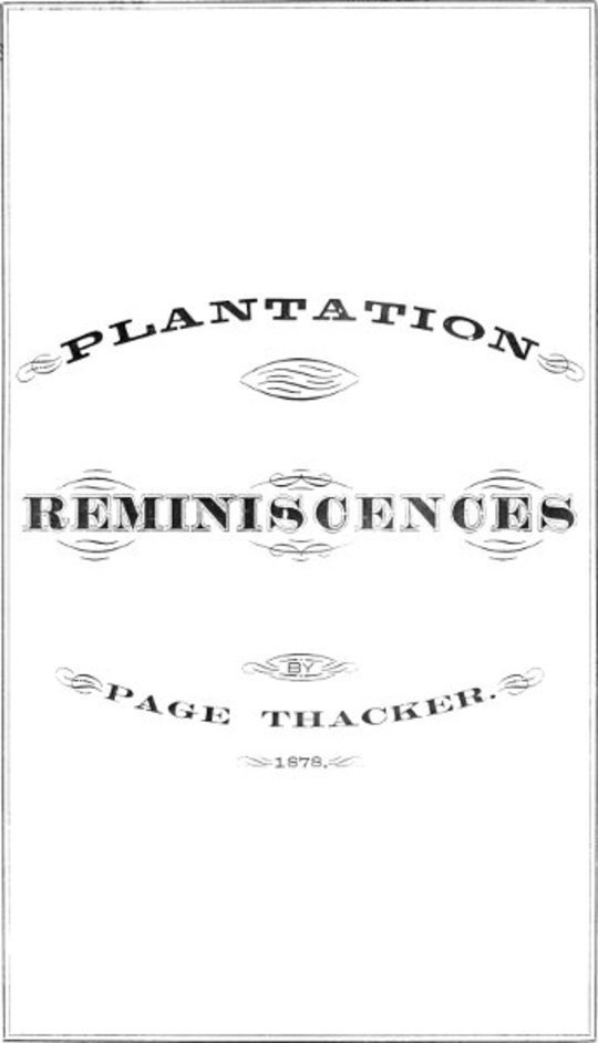 Plantation Reminiscences