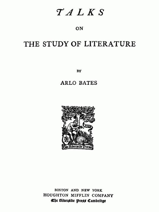 Talks on the study of literature.