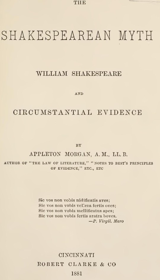 The Shakespearean Myth William Shakespeare and Circumstantial Evidence