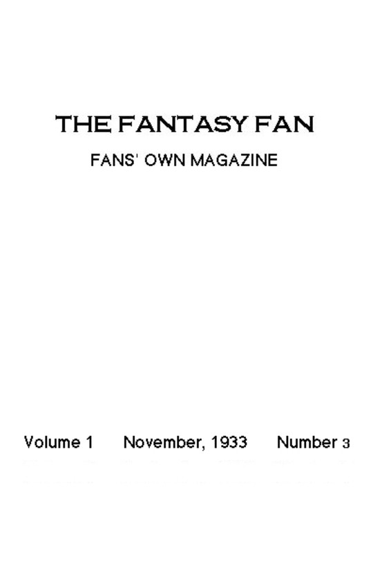 The Fantasy Fan November 1933 The Fans' Own Magazine