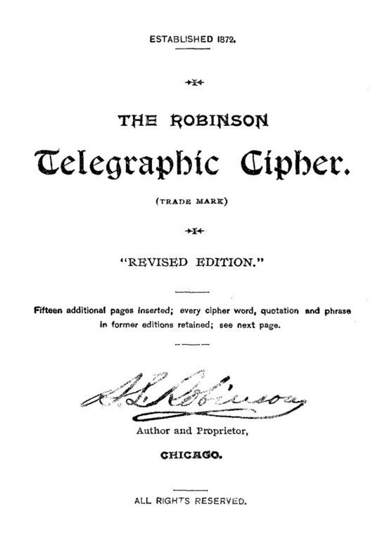 Robinson Telegraphic Cipher