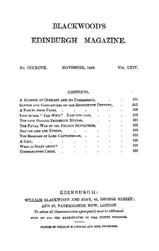 Blackwood's Edinburgh Magazine, Volume 64, No. 397, November 1848