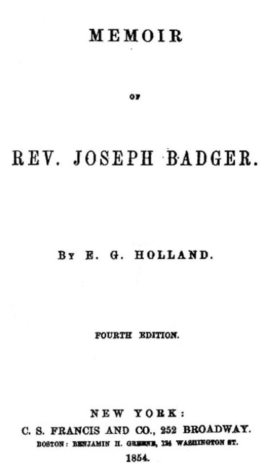 Memoir of Rev. Joseph Badger Fourth Edition