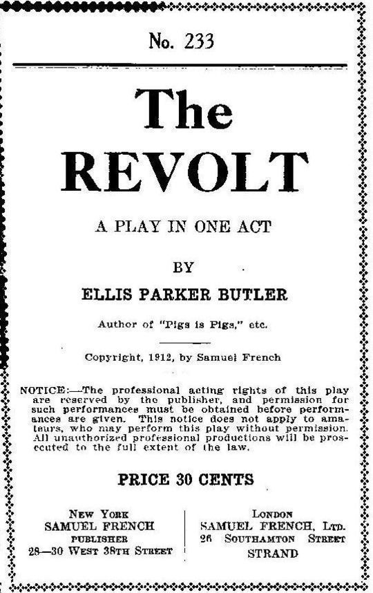 The Revolt A Play In One Act