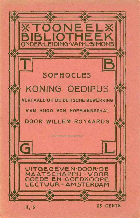 Koning Oedipus, van Sophocles tragedie