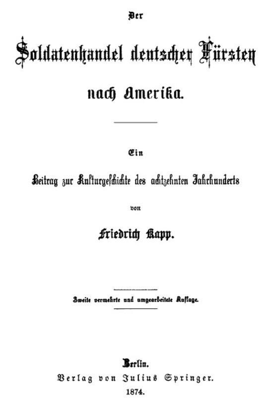 Der Soldatenhandel deutscher Fürsten nach Amerika