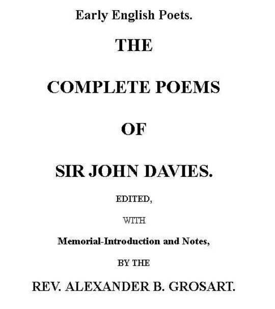 The Complete Poems of Sir John Davies. Volume 2 of 2.