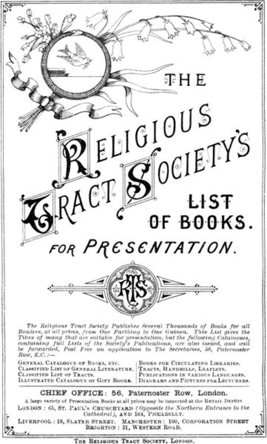 The Religious Tract Society Catalogue - 1889