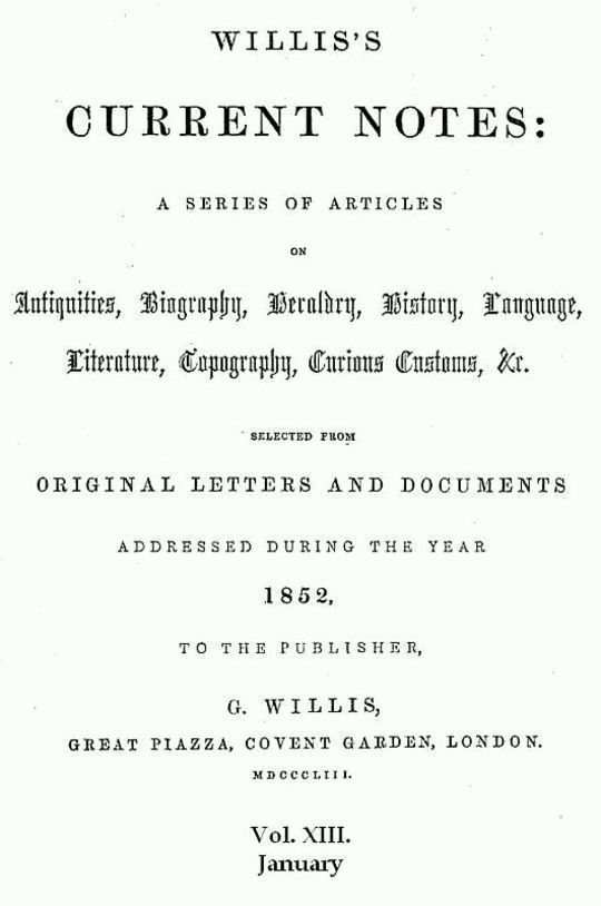 Willis's Current Notes, No. XIII., January 1852