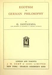 Egotism in German Philosophy