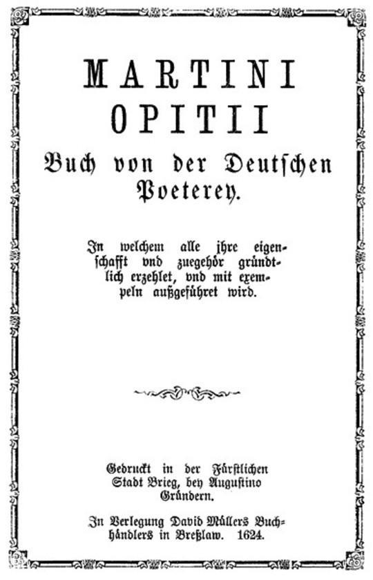 Buch von der Deutschen Poeterey