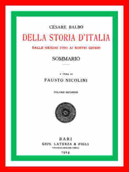 Della storia d'Italia dalle origini fino ai nostri giorni - Sommario