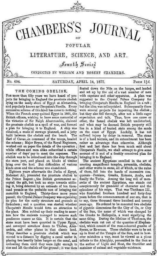 Chambers's Journal of Popular Literature, Science, and Art, No. 694 April 14, 1877.