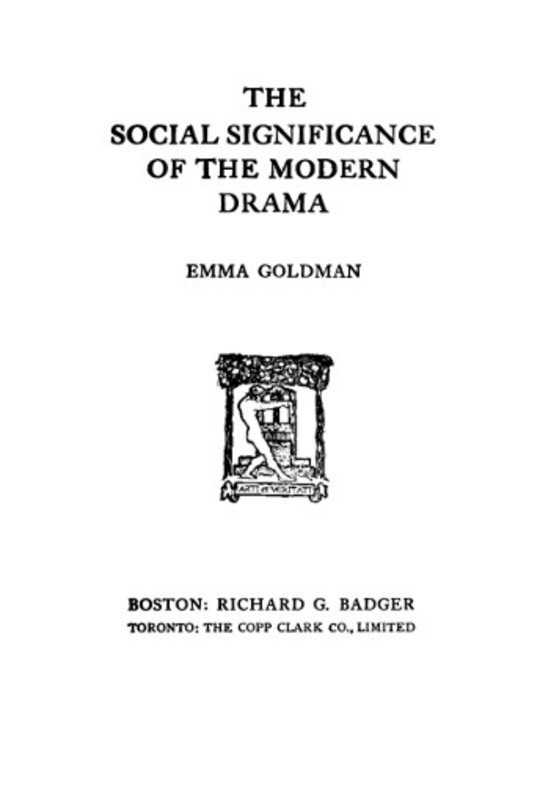 The Social Significance of the Modern Drama