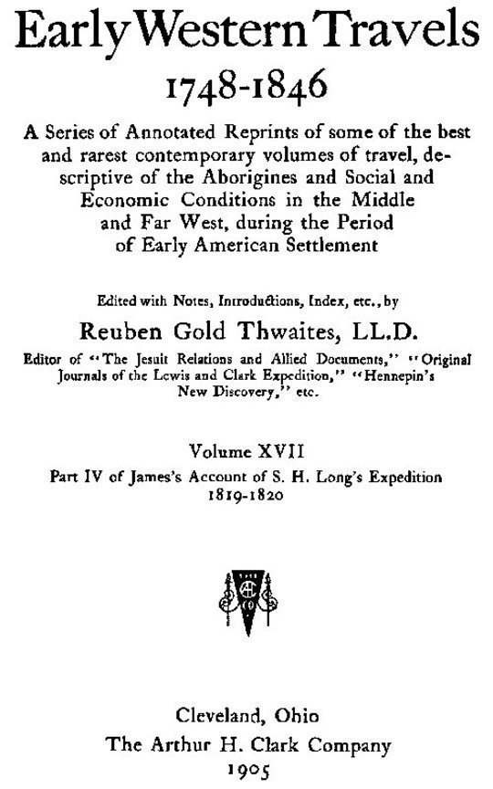Early Western Travels 1748-1846, v. 17