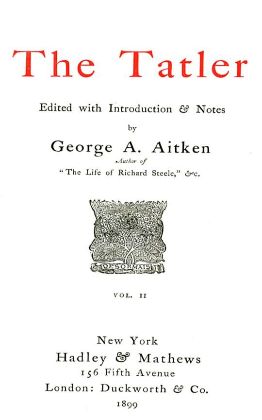 The Tatler, Volume Two