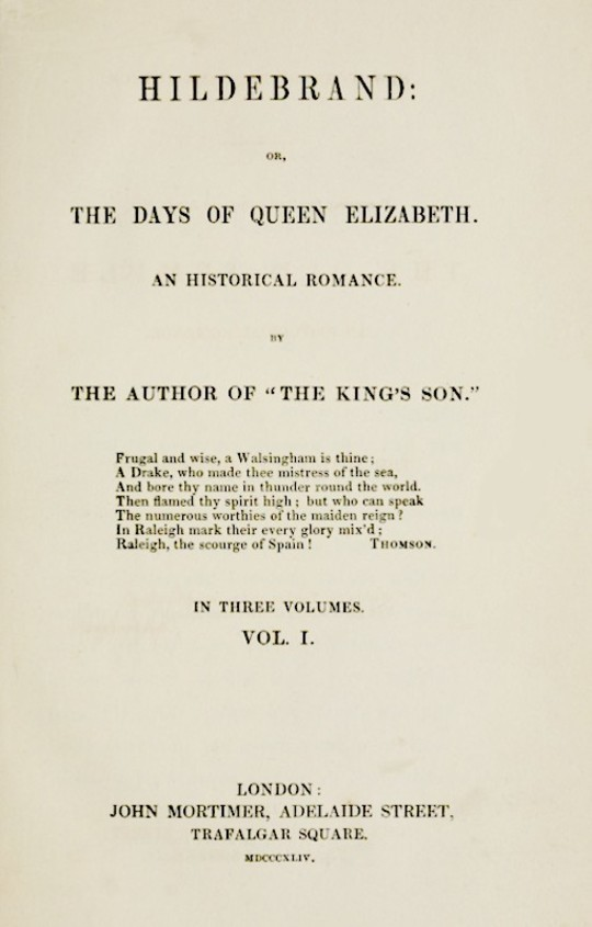 Hildebrand or, The Days of Queen Elizabeth, An Historic Romance, Vol. 1 of 3