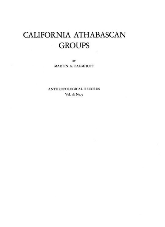 California Athabascan Groups