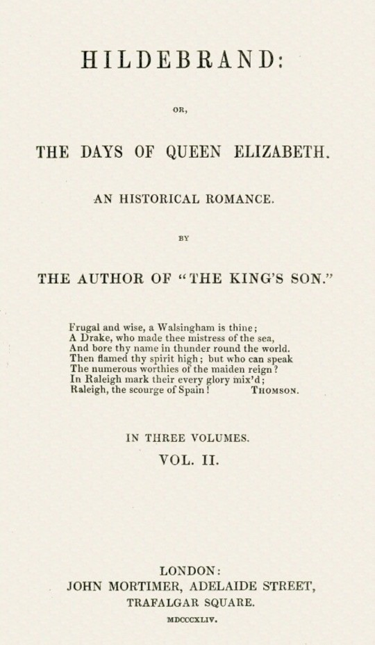 Hildebrand or, The Days of Queen Elizabeth, An Historic Romance, Vol. 2 of 3