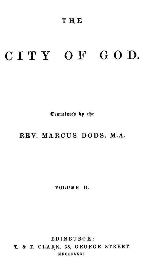 The City of God, Volume II