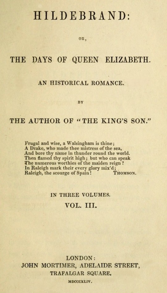 Hildebrand or, The Days of Queen Elizabeth, An Historic Romance, Vol. 3 of 3