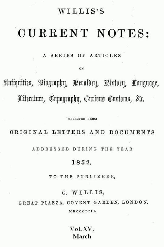 Willis's Current Notes, No. XV., March 1852