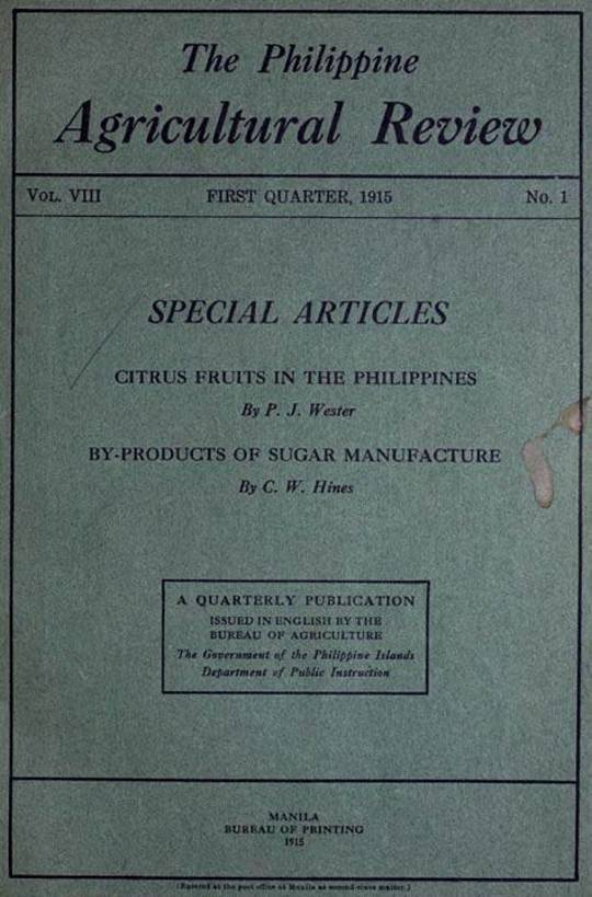 The Philippine Agricultural Review Vol. VIII, First Quarter, 1915 No. 1
