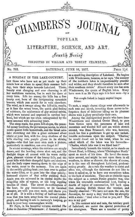Chambers's Journal of Popular Literature, Science, and Art, No. 703 June 16, 1877