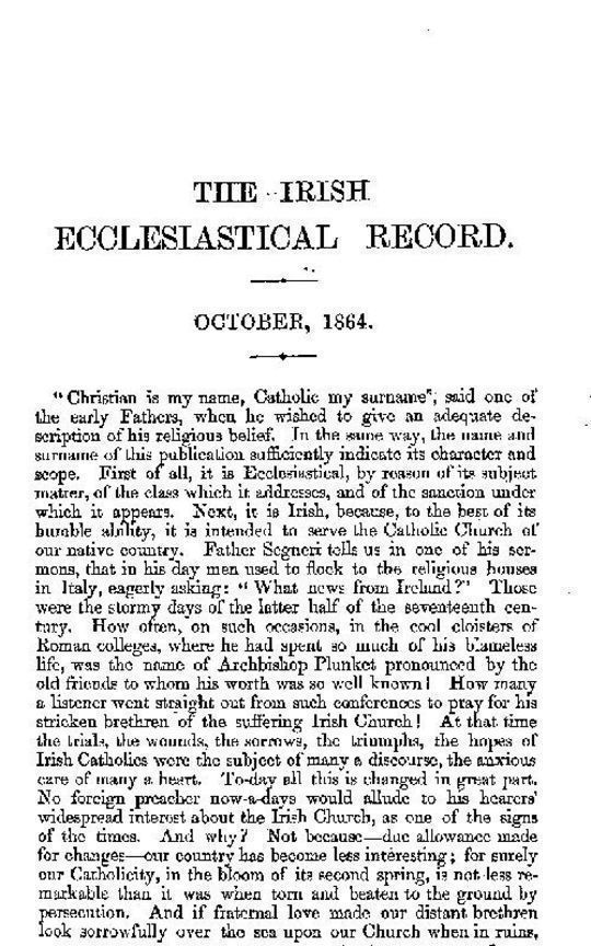The Irish Ecclesiastical Record, Volume 1, October, 1864