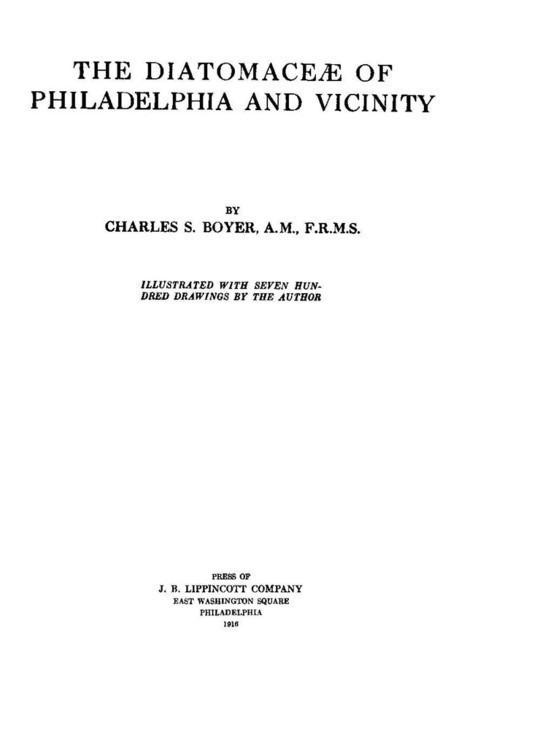 The Diatomaceae of Philadelphia and Vicinity