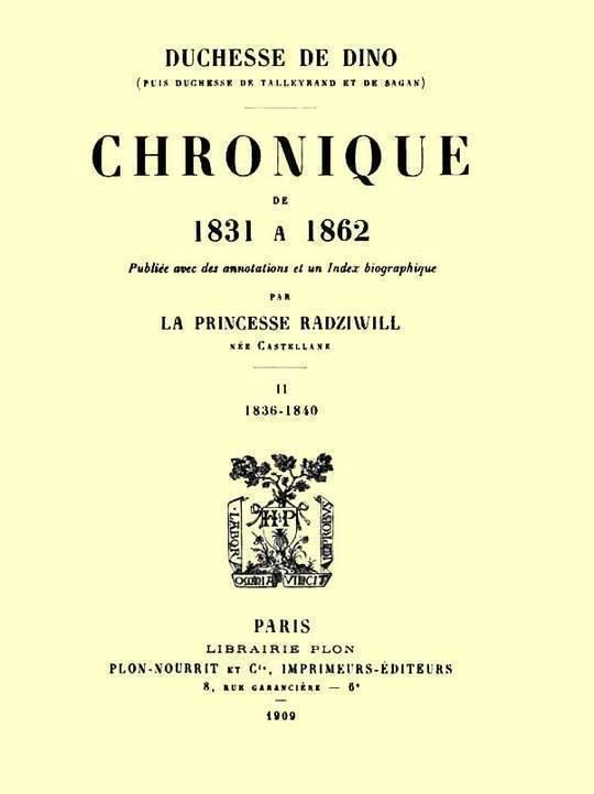 Chronique de 1831 à 1862, Tome 2 (de 4)