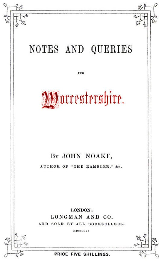 Notes and Queries for Worcestershire