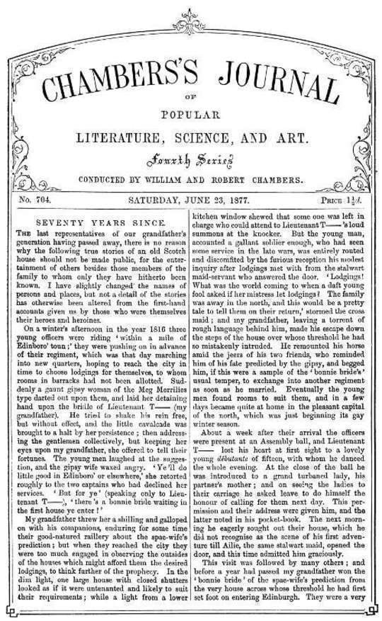 Chambers's Journal of Popular Literature, Science, and Art, No. 704 June 23, 1877