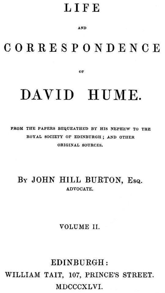 Life and Correspondence of David Hume, Volume II (of 2)
