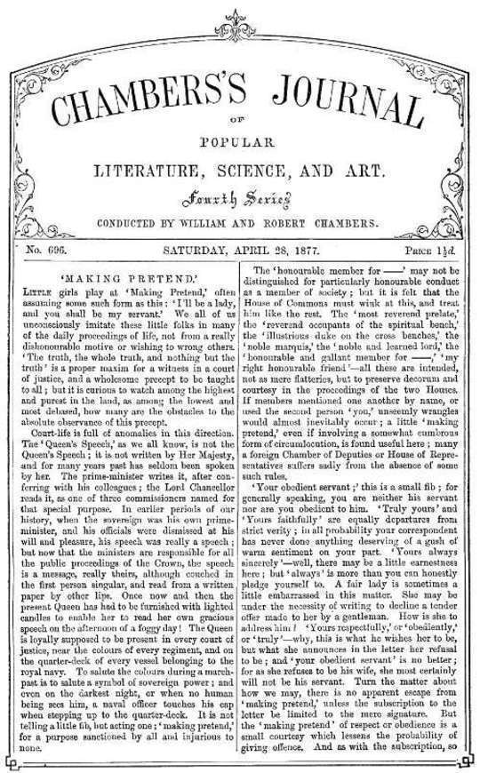 Chambers's Journal of Popular Literature, Science, and Art, No. 696 April 28, 1877.