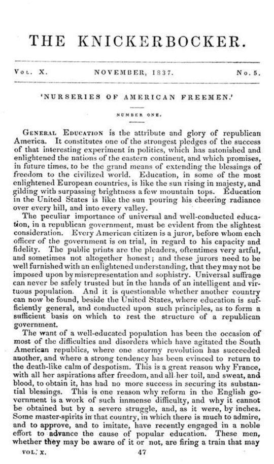 The Knickerbocker, Vol. 10, No. 5, November 1837