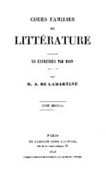 Cours familier de Littérature - Volume 02