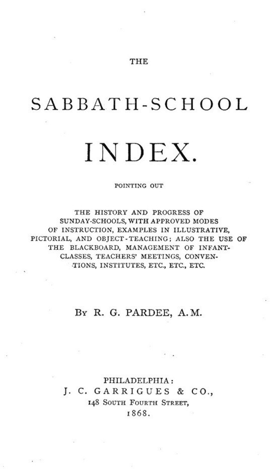 The Sabbath-School Index Pointing out the history and progress of Sunday-schools, with approved modes of instruction.