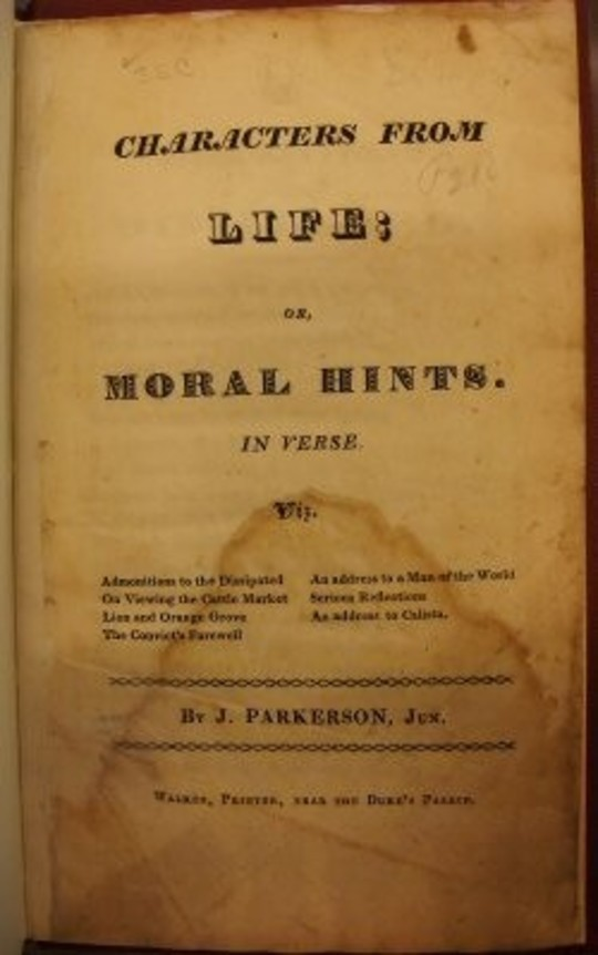Characters from Life; Or, Moral Hints. In Verse
