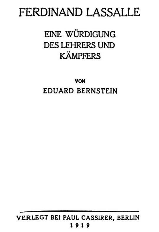 Ferdinand Lassalle Eine Würdigung des Lehrers und Kämpfers