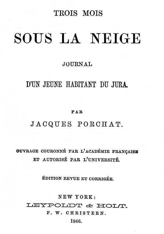 Trois mois sous la neige Journal d'un jeune habitant du Jura