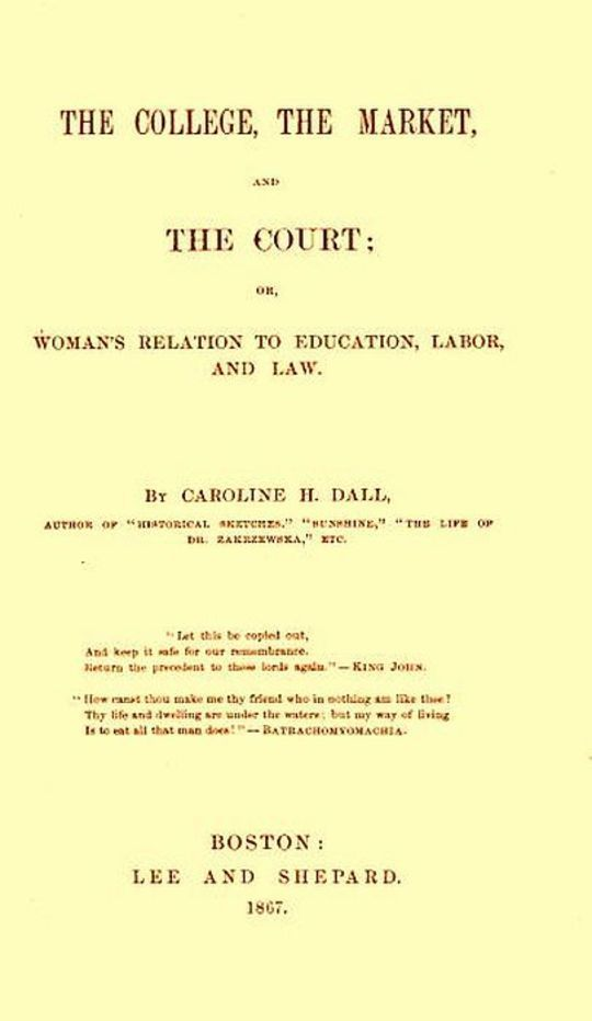 The College, the Market, and the Court or, Woman's relation to education, labor and law
