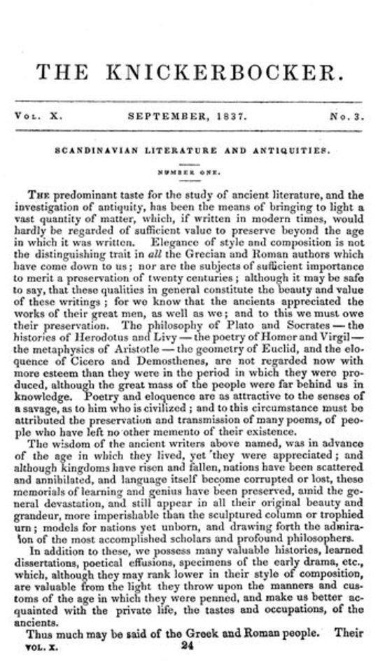 The Knickerbocker, Vol. 10, No. 3, September 1837