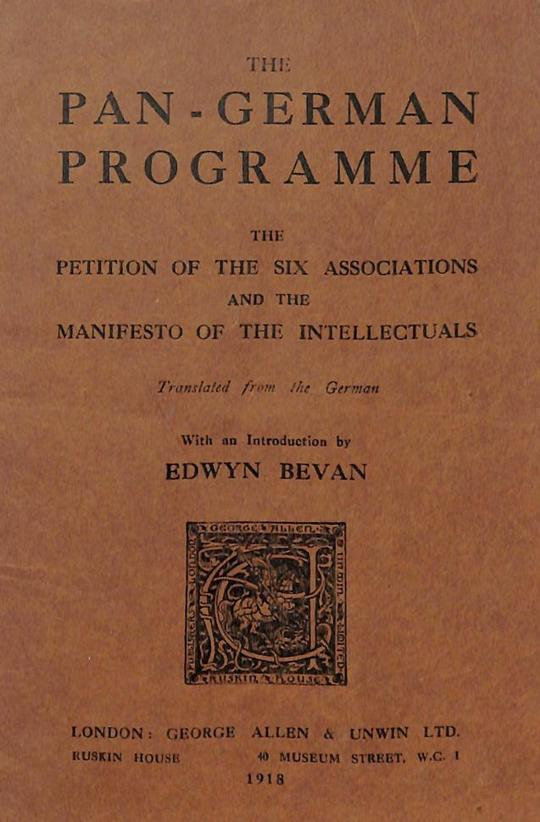 The Pan-German Programme The Petition of the Six Associations and the Manifesto of the Intellectuals